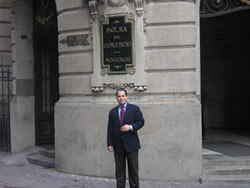 University of Florida law student extern Jesus Suarez outside of the Stock Exchange in Santiago, Chile.
