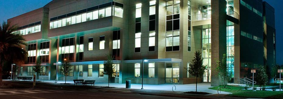 hub exterior night