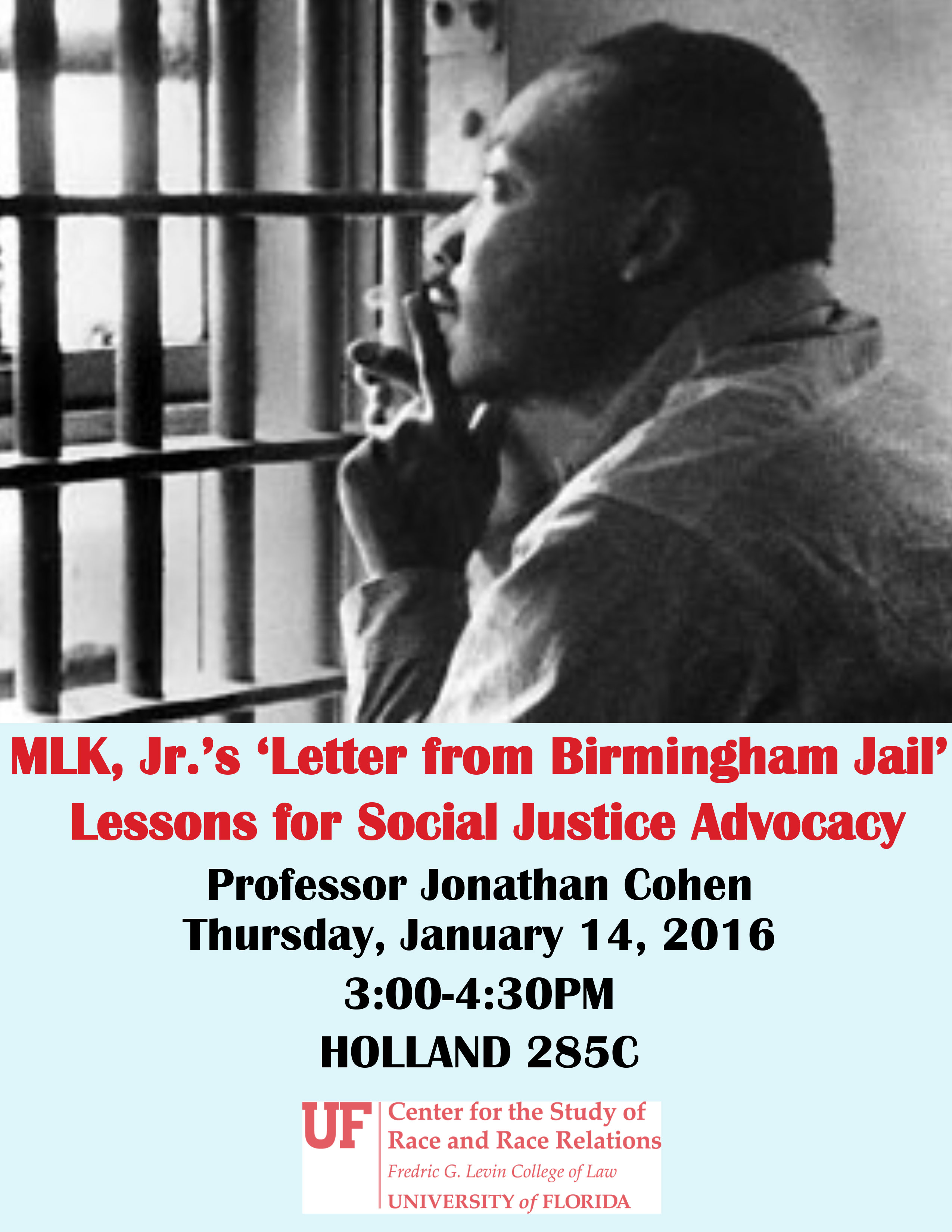 uf law professor cohen to discuss social justice advocacy and mlk  mlk flyer